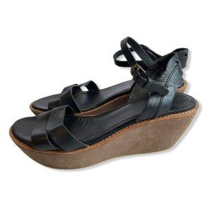 Camper Sandals Leather Strappy Wedge Buckle